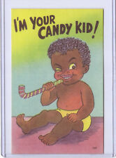 New Listing1952 Curt Teich Black Americana Postcard I'm Your Candy Kid
