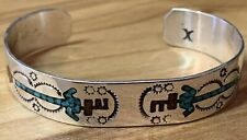 Native American Pictorial Cuff Bracelet Sterling Silver Hopi Dancer Signed