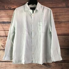 Men's Nat Nash Linen Light Pastel Pixie Green Long Sleeve Button Down Shirt Sz M