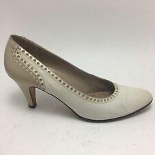 Salvadore Ferragamo  Womens Two Tone Cream Leather Classic Heel Pump Size 7.5AAA