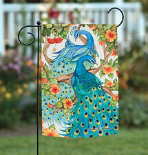 NEW Toland - Precious Peacocks - Colorful Blue Bird Feather Flower Garden Flag