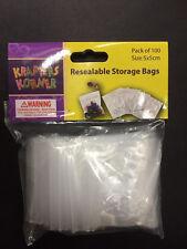 100x Resealable Plastic Bags 5x5cm Reseal Zip Lock Ziplock Clip Cello Craft Bead
