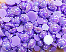 800 Pcs AB Purple Color Flatback Round Half Faux Pearls Beads DIY Craft Nail Art