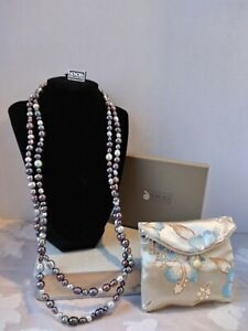 Honora Collections Multi Shade And Shape Ringed Pearl Necklace NWT Box & Bag