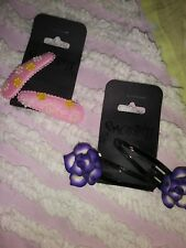 Lot/2 Sets Smoothies Barrettes/Hair Clips-Purple Flowers/Pink w/3D Daisy Flowers