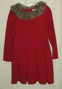 EUC Janie & Jack Girls Wonderland Wishes Red Faux Fur Collar Bow Dress Size 6