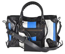 0b5efdf57d1 New Balenciaga $2,190 Small Colorblock Blue Crinkle Leather Arena City  Purse Bag