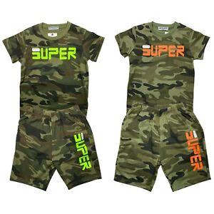 Boys T-Shirt Short Set Kids Camo Camouflage Summer Short Outfits Cotton 2 Piece