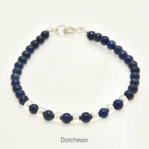 Sterling Silver Bracelet With Lapis Lazuli Natural Beads