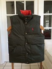 NWT POLO RALPH LAUREN MENS REVERSIBLE DARK OLIVE& ORANGE SMALL PUFFER DOWN VEST