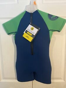 BODY GLOVE Child Boys Medium 40-50 Lbs. Springsuit Wetsuit Blue Green NWT