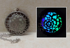 ROSE Flower GLOW in the DARK Photo Locket Prayer Wish Box Pendant Necklace