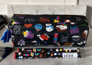 NEW PAPERCHASE FESTIVE FRIENDS PENCIL CASE & 2 MATCHING PENS