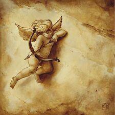 Carla Moresca: Amoretto III Leinwand-Bild 20x20 Wandbild Engel Putte Deko