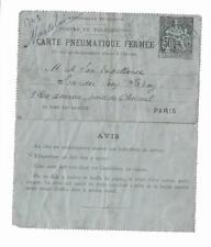 (3) France 1897 pneumatic tube letter Paris