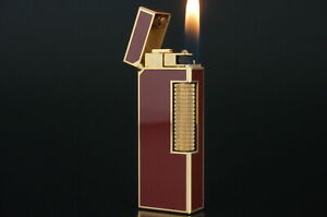 Dunhill Rollagas Lighter  Gold plated Lacquer Red  Working #O49
