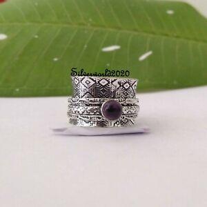 Amethyst Ring Spinner Ring 925 Sterling Silver Plated Handmade Ring Size 7 vi312