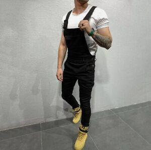 Mens Denim Jeans Dungarees Overalls Long Jumpsuit Bib Cargo Pants Casual Trouser