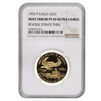 1993 P 1/2 oz $25 Proof Gold American Eagle NGC PF 69 UCAM Mint Error (Rev