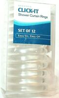 Maytex Click-It Clear Plastic Shower Curtain Rings Set of 12