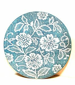 Vintage Ideal Ironstone China Cake Plate Blue White Flower Doily Pattern 11 inch