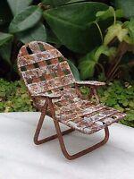 Miniature Dollhouse FAIRY GARDEN ~ Sea BEACH Lake Rustic White Metal Lawn Chair