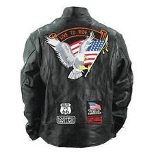 Mens Buffalo Leather Jacket Biker Motorcycle Harley Eagle USA Flag Patches 4XL