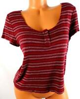 Mossimo red white plus size striped button cleavage short sleeve spandex top XL