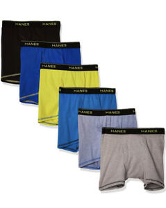 Hanes Boys Cool Comfort Breathable Mesh Boxer Briefs 6-Pack S 6-8 Tagless
