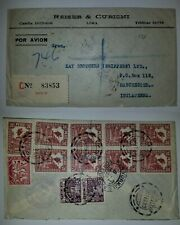 J) 1933 PERU, MONUMENT TO THE SIMON BOLIVAR, MULTIPLE STAMPS, AIRMAIL, CIRCULATE