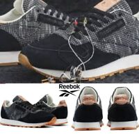 Reebok Classic Leather Ebk Shoes Sneakers Black Grey BS6236 SZ 4-12.5