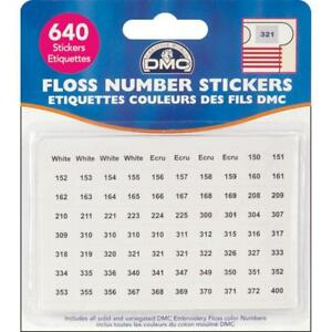 DMC Floss NUMBER STICKERS for Bobbins 640 Labels Cross Stitch Needlework