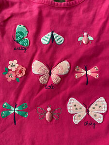 Gymboree Girls Pink 'Pretty Little Thing' Bug Dragonfly Butterfly Top 10 EUC