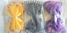 3 Ladies or Childrens Hair Bows Black Yellow and Purple Beads Sequins
