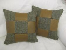 HARRIS TWEED/REAL LEATHER CUSHIONS IN HAMISH HERRINGBONE WITH FEATHER INNERS