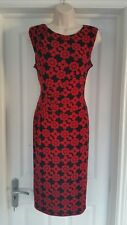 Phase Eight Red & Black Tile Print Stretch Midi Sleeveless Dress 12