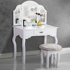 Vanity Set Makeup Dressing Tables W 3 Mirrors Drawer And Stool Woman Gift