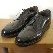 Vintage Jarman Corfam Faux Leather Genuine Black Brogues Wingtips 7.5 40.5