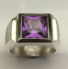 MJG STERLING SILVER MEN'S RING.10 X 10MM  SQUARE FACETED LAB ALEXANDRITE. SZ 10