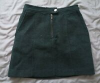 New Look Women's Green Wool Blend Skirt Size 8 Good Used Condition