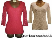 BN M&S PER UNA RED WHITE TEXTURED CROCHET LACE BACK TOP BLOUSE TUNIC SIZE 8~20