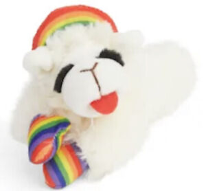 NEW! LAMB CHOP RAINBOW PLUSH PET SQUEAKY TOY FOR DOGS (OR CATS)