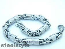 MEN'S CHUNKY LINK CHAIN BYZANTINE STAINLESS STEEL 316L  BRACELET SILVER