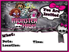 Monsters High Party Invitations with matching envelopes, birthday, 12pack