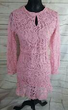 Womens Dress Size L (10) Pink Lace Peplum Hem Long Sheer Sleeve