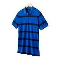 Mens Chaps Custom-Fit Striped Short Sleeve Polo Shirt - Size M - Fathom Blue NWT