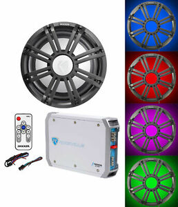 """KICKER 45KMF104 10"""" Free Air Marine Subwoofer+Amp+Charcoal Grille w/LED's+Remote"""