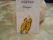 New Handcrafted Studio Art Pottery Gold Finch Feather Earrings on French Hook