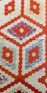 "Vintage Cutter Quilt Piece 25""x 48"" Feed Sack Fabrics Grandma's Flower Garden #2"