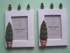 "A Pair OF Topiary Hand Crafted White Picture Frames for 3.5"" X 5"" Photo B.N.I.B"